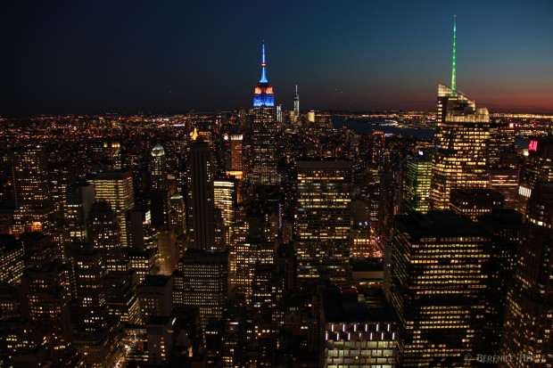 Manhattan de nuit depuis le rockfeller center